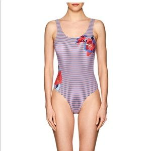 Onia Kelly Striped & Floral One Piece Swimsuit